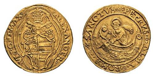 No. 708 ITALY. Vatican. Alexander VI, 1492-1503. Double florin