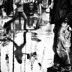 Negotiating Puddles #black_and_white #monochrome #bnw_life #bnw_captures #bnw #London #Sw1 #Victoria