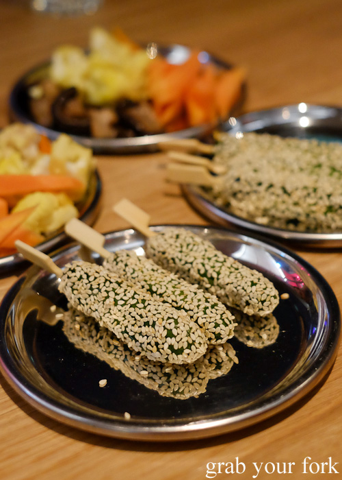 Sesame cucumber and pickled vegetables at Supernormal, Melbourne