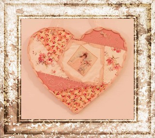 Peaches And Cream Crazy Quilt Heart