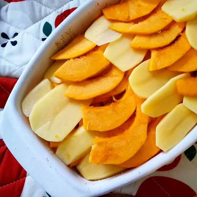 Goldengelchen Kartoffel-Kürbis-Gratin