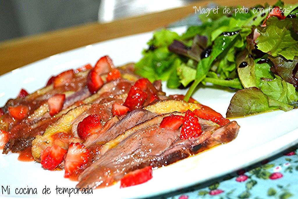 Magret de pato con salsa de fresas 029