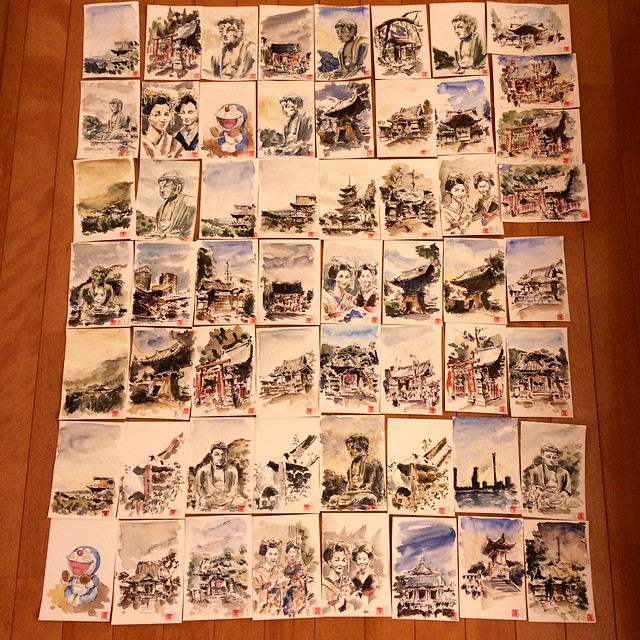 57 postcards from japan!!!! #pfj #platinum #carbon #watercolor