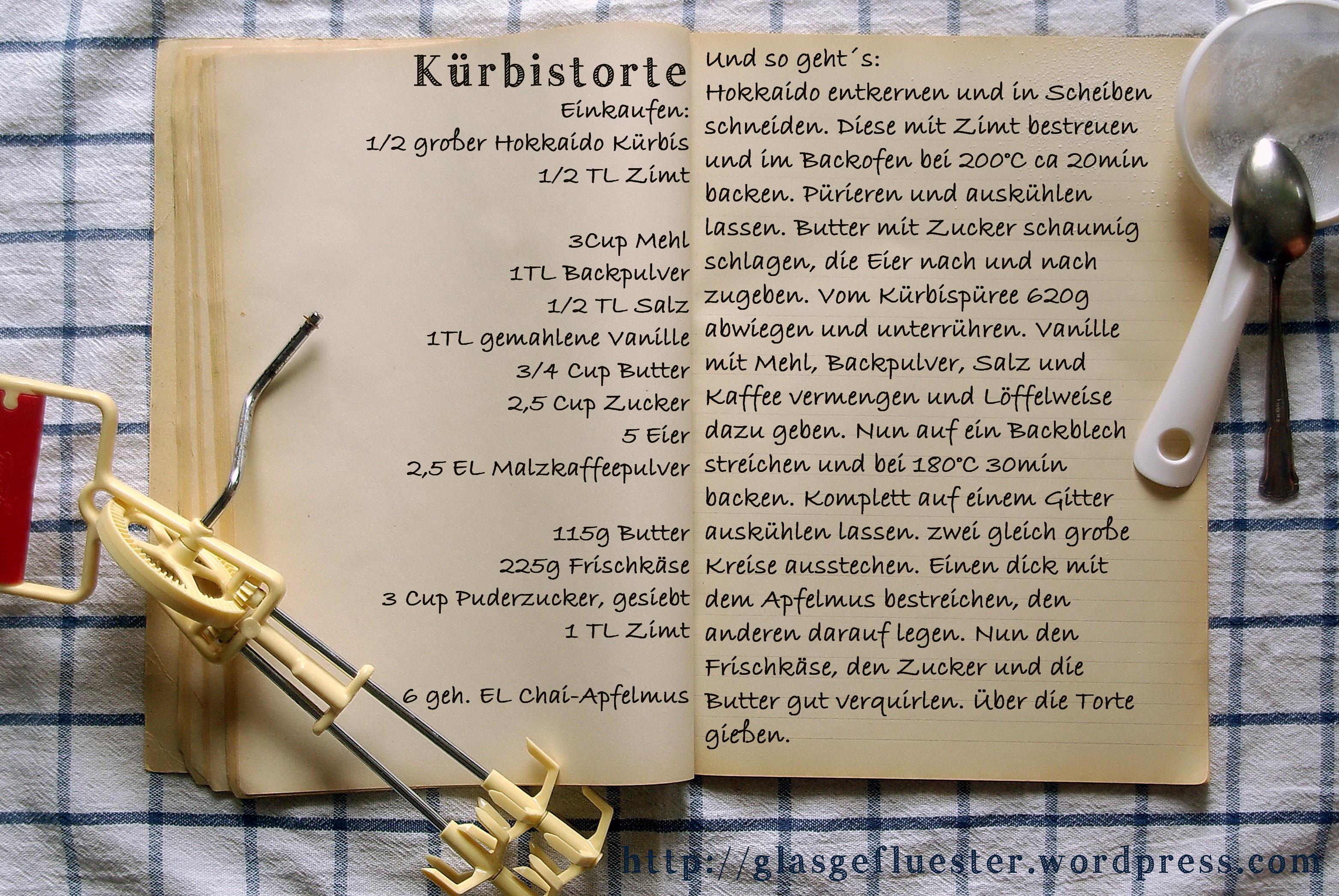 Einkaufszettel Kürbistorte by Glasgeflüster