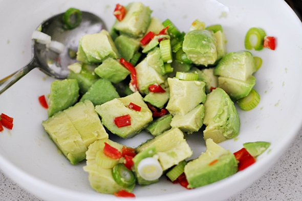 Green Bean Salad with Cajun Chicken and Avocado-Lime-and-Chilli Salsa