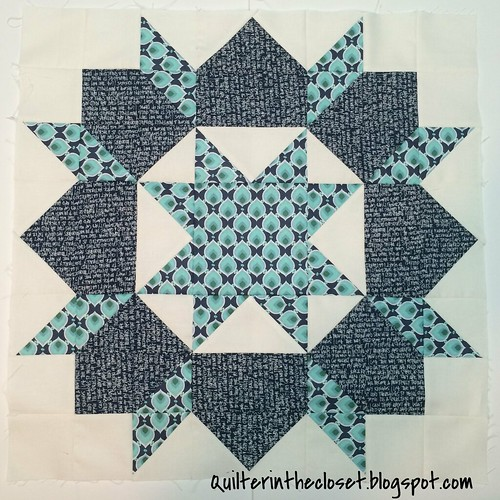 Aqua and Navy Swoon block