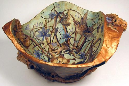 Paper Maché Decoupaged Bowl - Nest