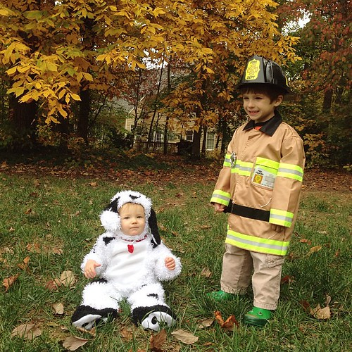 My fireman and his Dalmatian.   Happy Halloween!