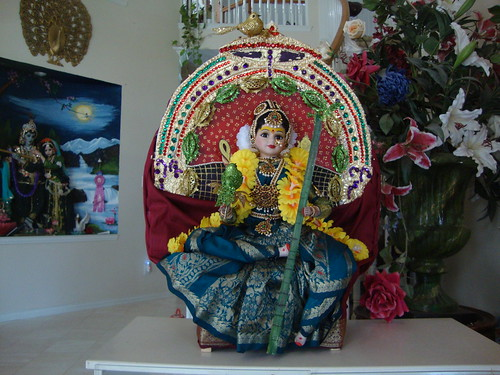 Rajarajeswari or Lalita porcelain doll on simhasana