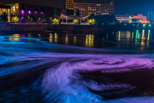 indiana nikon nikond5300 outdoor southbend stjosephriver downtown evening geotagged lights longexposure night reflection reflections river water yextindiana