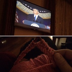 Casting on my @p_ssyhatproject hat, watching my President. #presidentobama, #theygolowwegohigh