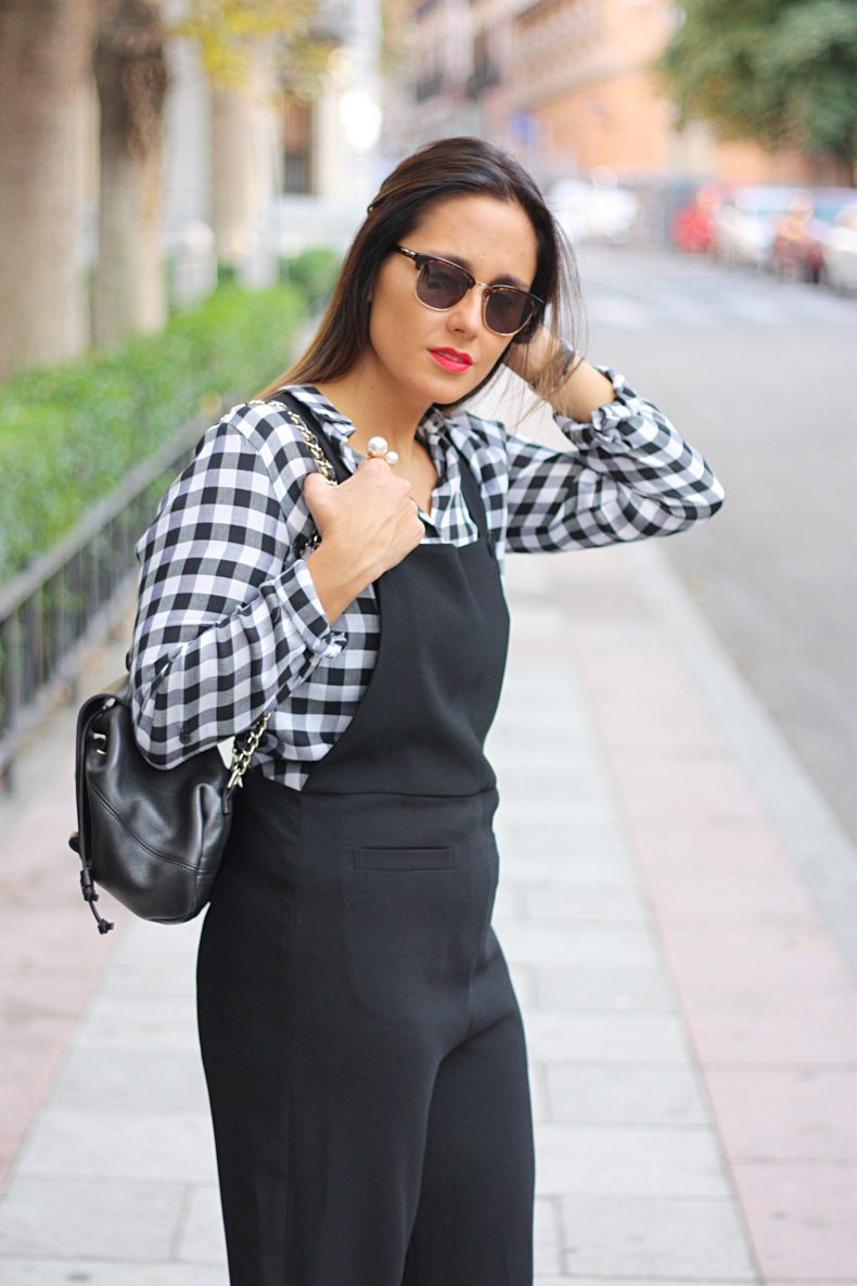 jumpsuit-dungaree-plaid_shirt-rebecca_minkoff-bag-daniel_wellington-watch-street_style-outfit