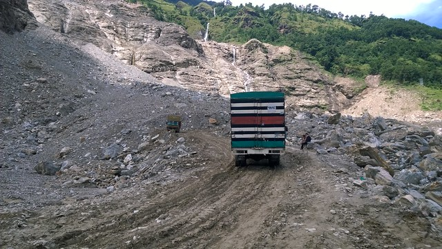 Arniko Highway landslide, truck attempting climb