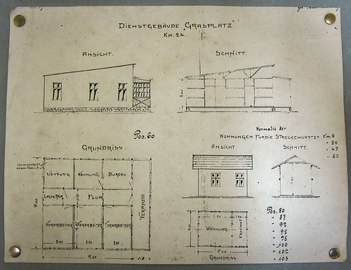 Dienstgebäude Grasplatz, plans of the Grasplatz train station, between Aus and Lüderitz, Namibia. Windhoek railway museum