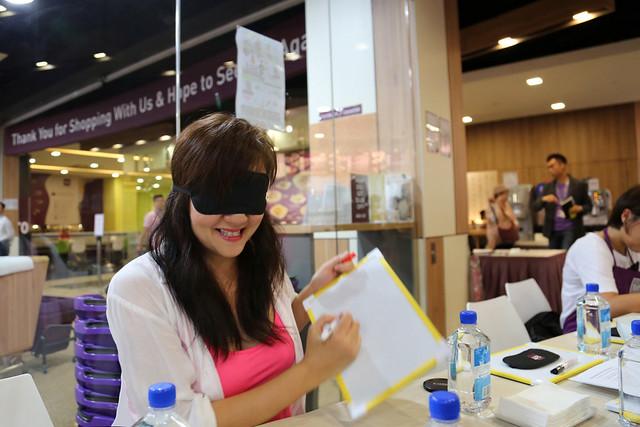 Blindfolded for the ToTT Taste Challenge!