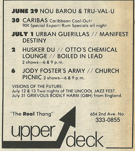 07/02/83 Husker Du/ Otto's Chemical Lounge/ Boiled In Lead @ The Upper Deck, Minneapolis, MN