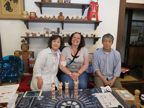 My guide and I with Mr Taketoshi Takahashi at his workshop Takakame (高亀) in Naruko Onsen