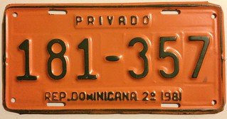 DOMINICAN REPUBLIC 2nd HALF 1981 ---PASSENGER PLATE