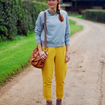 Grey marl with yellow trousers