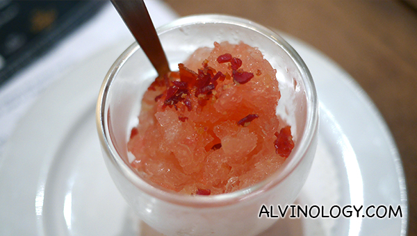 Cava Grapefruit Granita Y 10 Vetas - Spanish cava and grapefruit sorbet with crispy 10 Vetas Jamon