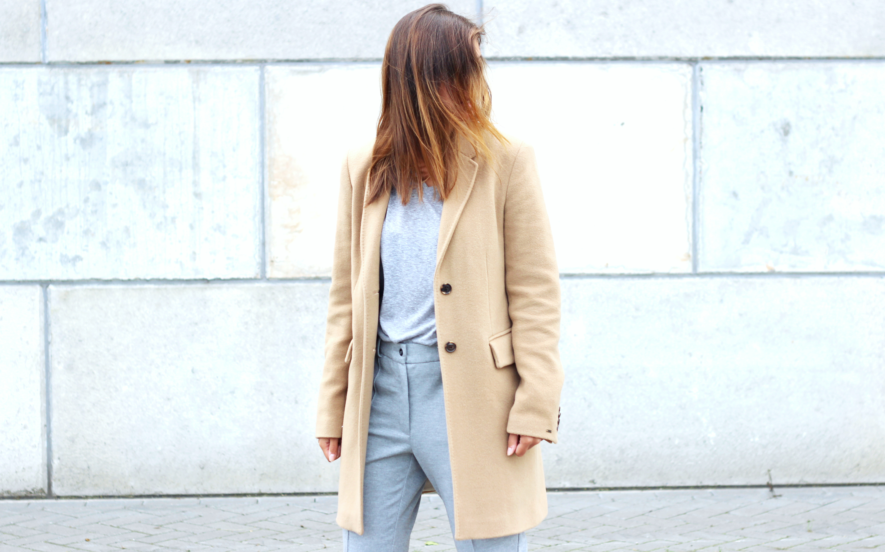 Grey on grey camel coat outfit