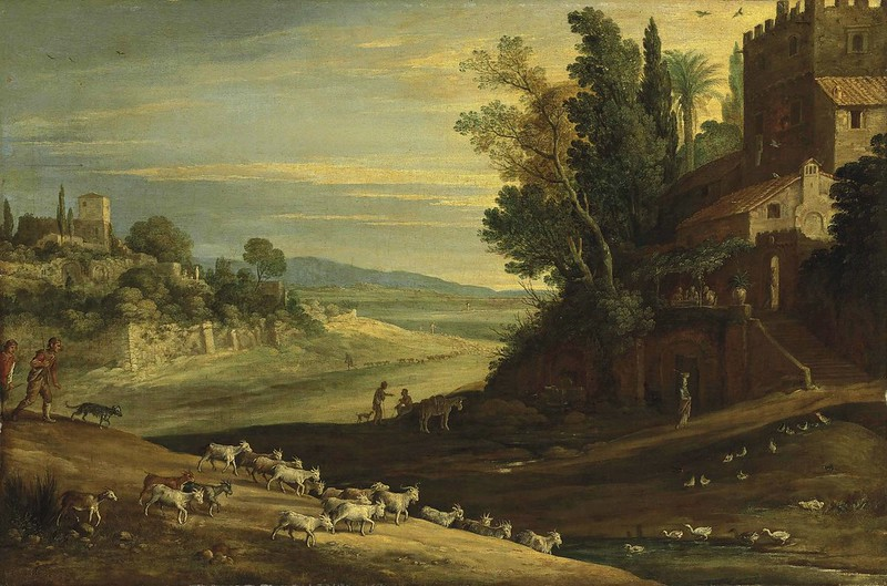 Paul Brill - An extensive Italianate landscape with shepherds