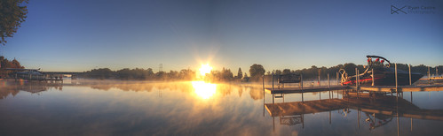 morning autumn sky panorama sun reflection fall water fog sunrise boats illinois foxriver chicagoland