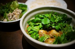 oyster curry with watercress on top