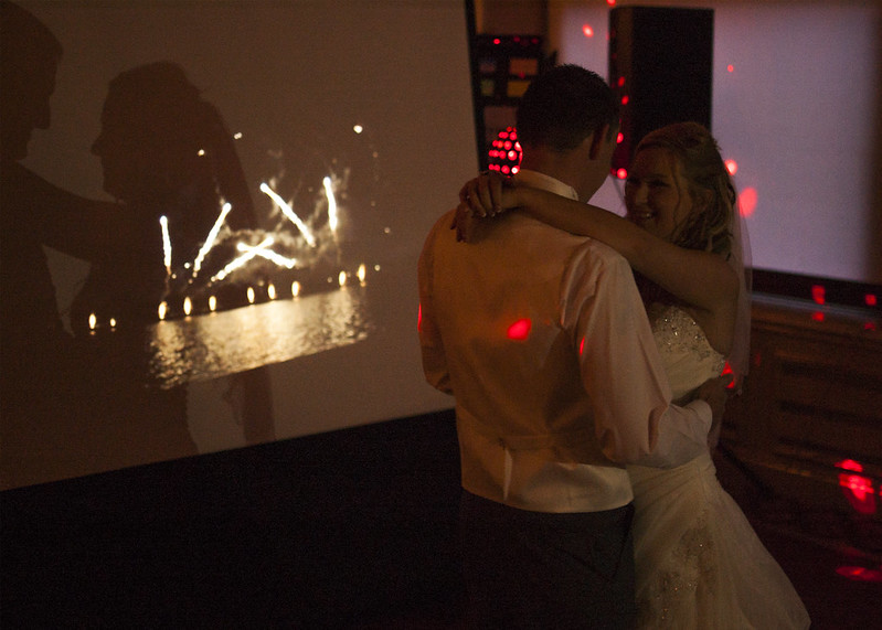 Fireworks projected during first dance