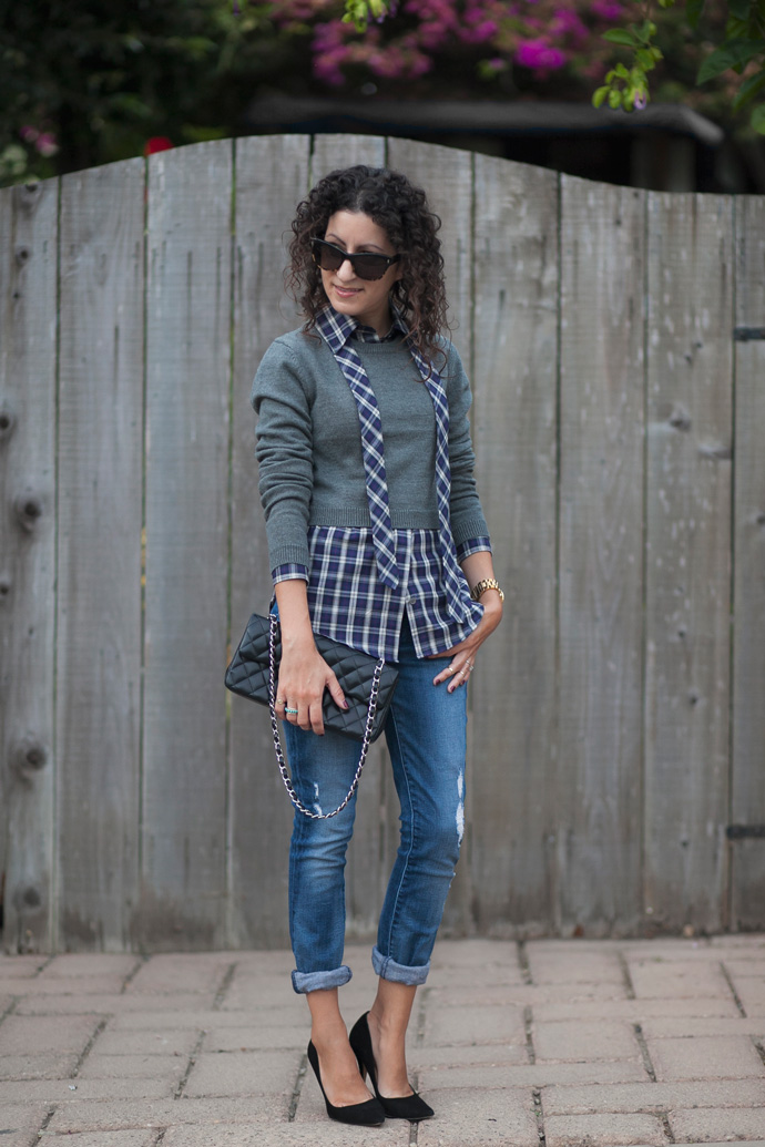 Cropped Sweater and Plaid