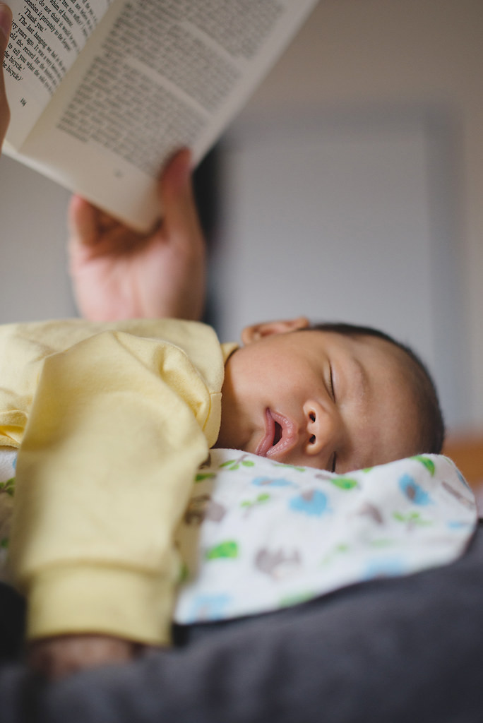 Reading with a newborn