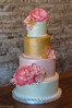 Pink & Gold Four Tiered Wedding Cake