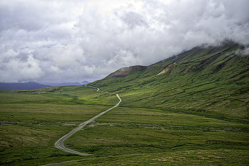 The road to Denali (Mt. McKinley) - it's behind the clouds