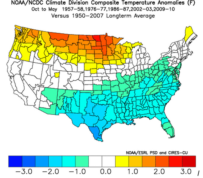 Composite temperature anomalies