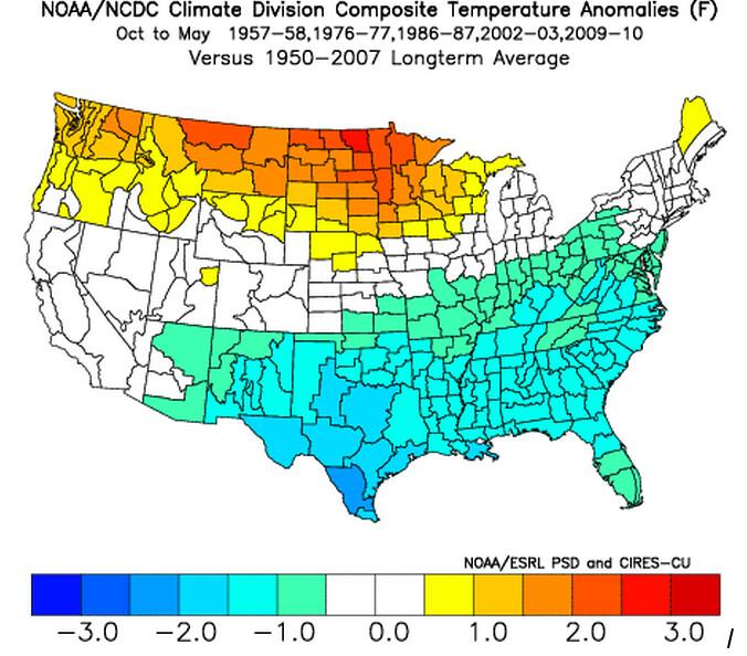 Composite temperature anomalies