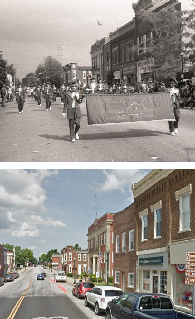 Downtown Lebanon, KY: Main Street between Spalding Avenue and Highway 49, 30 Years Apart