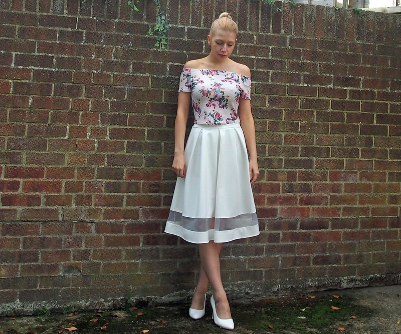Crop Top, Bardot, Pastel, Pink, Floral, New Look, Matalan, Midi Skirt, High Waisted, Mesh Panel, Sheer, How to Wear, UK Fashion Blog, London Style Blogger, Sam Muses