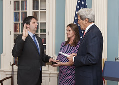 U.S. Secretary of State John Kerry swears in U.S. Ambassador to the Republic of Korea Mark Lippert at the U.S. Department of State in Washington, D.C., on October 24, 2014. [State Department photo/ Public Domain]