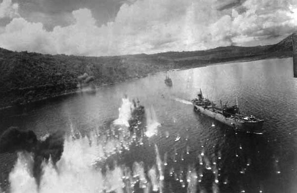 strafing a Japanese ship in Simpson Harbor
