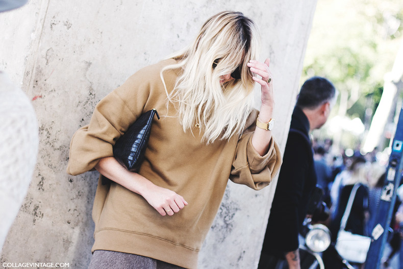 Paris_Fashion_Week_Spring_Summer_15-PFW-Street_Style-Camille_Charriere-Grey_Skirt-Oversize_Sweatshirt-5