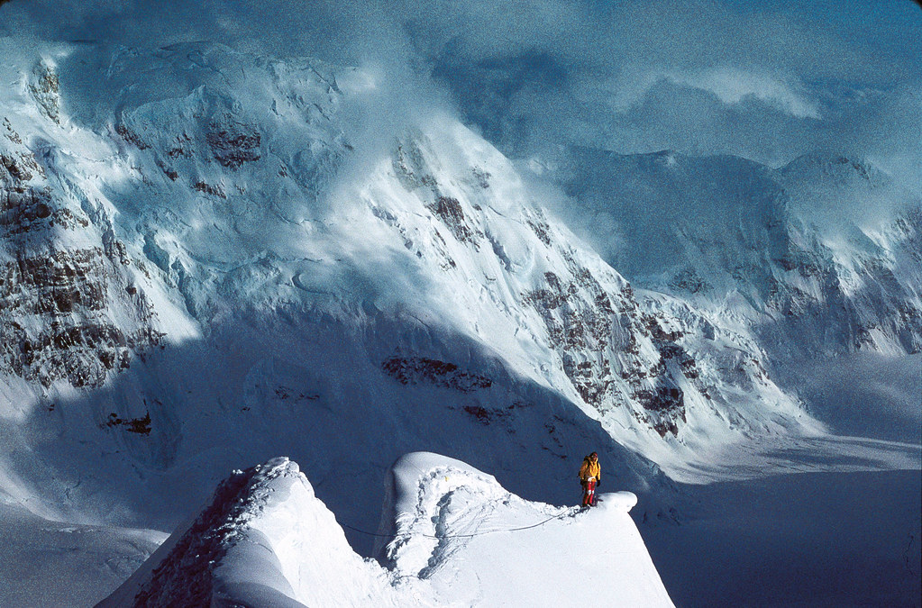 Traversing the Tent Arête on the Cassin Ridge.of Mount McKinley, Alaska, 1982. Photo: Kevin Doyle
