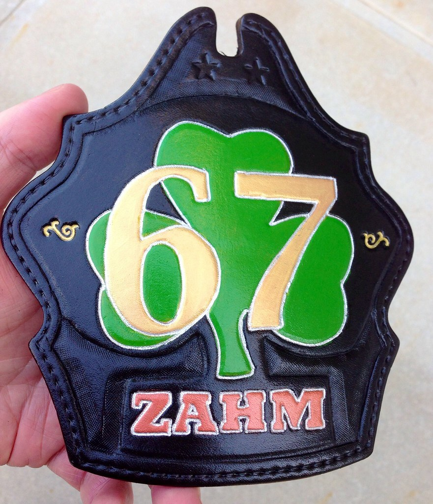 Fire Helmet shield with shamrock and gold numbers truck style
