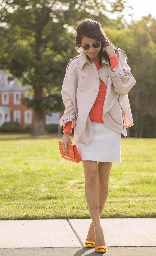 light pink trench cape coat, orange tee, white skirt, yellow bow pumps