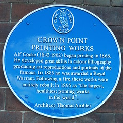 Photo of Thomas Ambler, Alf Cooke, and Crown Point Printing Works blue plaque