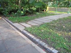 溜滑梯旁草坪邊緣的小排水溝完成。