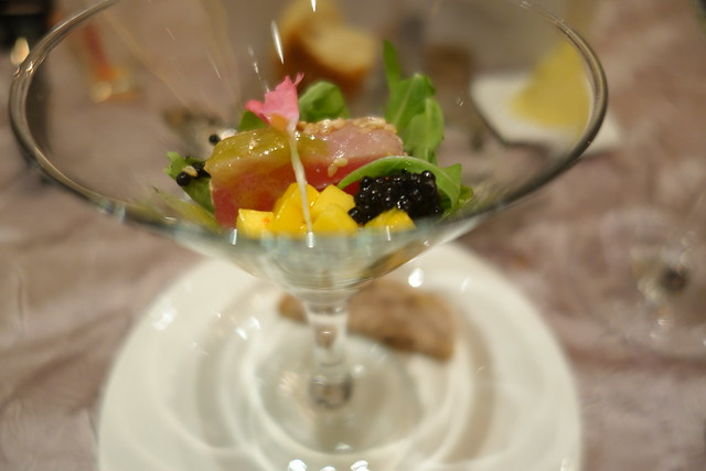 Amuse Bouche: Seared Yellow Fin Tuna with Sesame Seeds & Citrus Salsa - Brasserie Les Saveurs, St Regis Singapore - Festive Dining 2014
