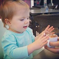 First babyccino! Very exciting. #mybeautifulbaby #yumyum #biggirlnow