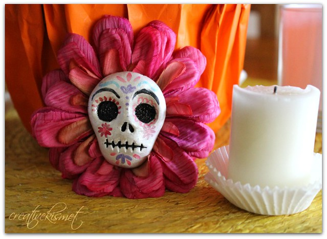Day of the Dead Skull Flower Brooch