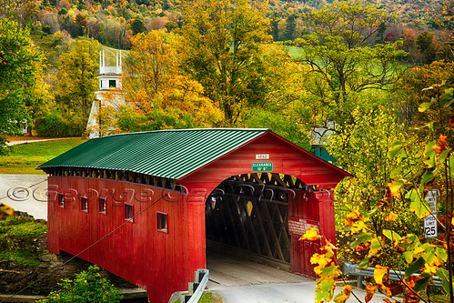 travel autumn fall church horizontal architecture arlington landscape colorful vermont seasons unitedstates fineart scenic newengland nobody landmark historic foliage coveredbridge northamerica daytime quaint churchsteeple highangleview battenkillriver westarlington buildingexteriors bridgestructures