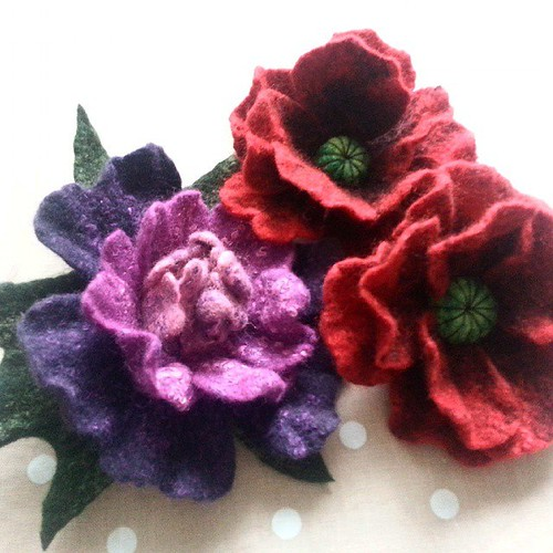 Felt and Felt peony poppies